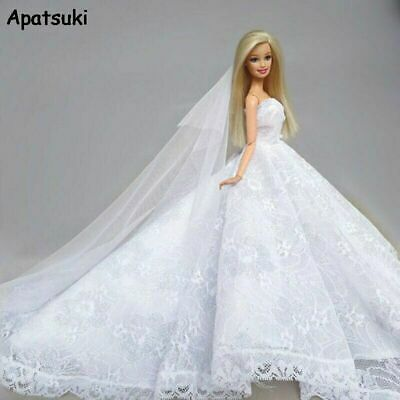 11.5in Pure White Lace Doll Clothes Wedding Dress For Barbie Dolls Outfits