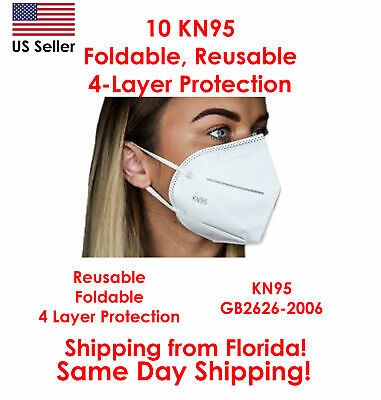 10 KN95 Foldable Reusable 4-Layer Protective Face Masks USA Seller