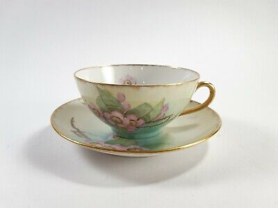 Antique 1900s Silesia Beige Flower Tea Cup and Saucer For Cat Rescue