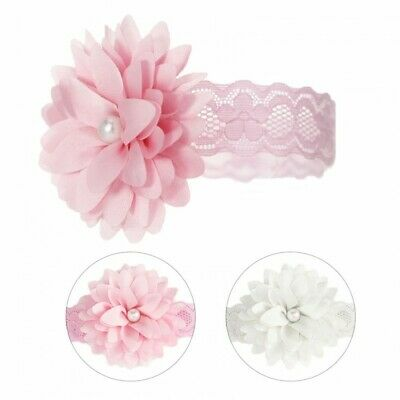 Baby Girls Romany Headband Lace with Flower & Pearl White or Pink by Soft Touch