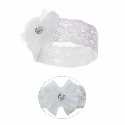 Baby Girls White Headband Lace with Flower with  Diamante Romany by Soft Touch