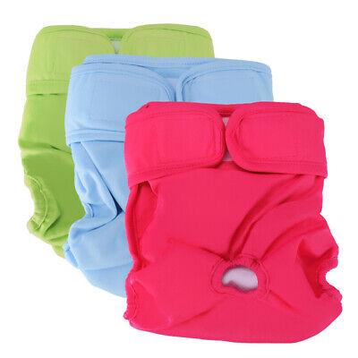 PACK of 3 Female Dog Diapers Cat LEAK PROOF Waterproof Washable Small Large Pet