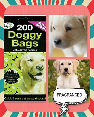 Tidys Pooper Scooper Doggy Bags With Handles - Pack of 200 Poop Bags -Scented