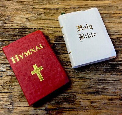 Dollhouse Miniature 1:12 Black Hardcover Holy Bible Book for Bedroom Church Gift