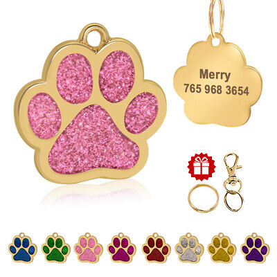 Personalized Dog Tags Paw Glitter Laser Engraved Customized ID Nameplate 8 Color