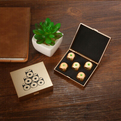 5 Pieces Six Sided D6 0.63inch Standard Dice Die Metal Golden w// Box Set