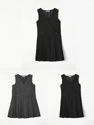 Ex John Lewis Girl Box Pleat Tunic/Pinafore Dress Navy Black Grey School Uniform
