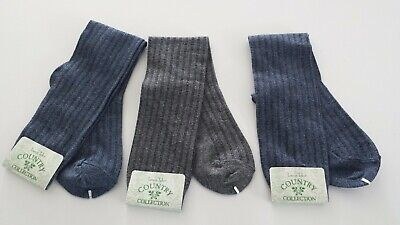 3 Laura Tyler Country Collection Vintage 90's Knee Socks One Sz 9-11 Blue Gray