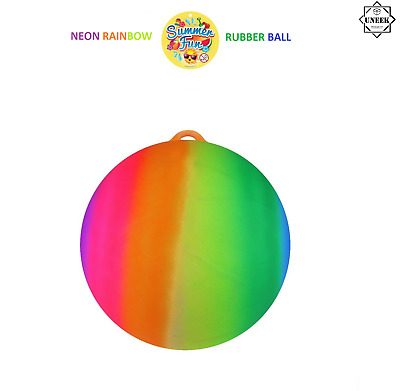 """kids summer fun Large Rainbow Bouncy 18/"""" Inflatable Rubber Neon Ball WITH PUMP"""