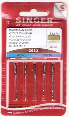 Singer Leather Sewing Machine Needles Assorted Sizes 9014-100/16 5/Card