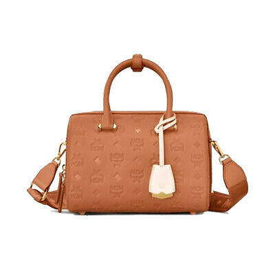 NWT!!MCM BOSTON ESSENTIAL Monogrammed Small Leather Satchel