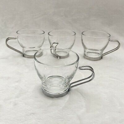 Details about Vintage 'Vitrosax' Italian Clear Glass with Metal Holders Coffee Cups Set of 4