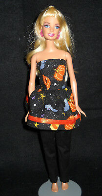Sparkly Halloween Barbie Doll Top and Black Pants Handmade