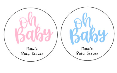 Personalised Ready to Pop Oh Baby Shower 24 round labels stickers