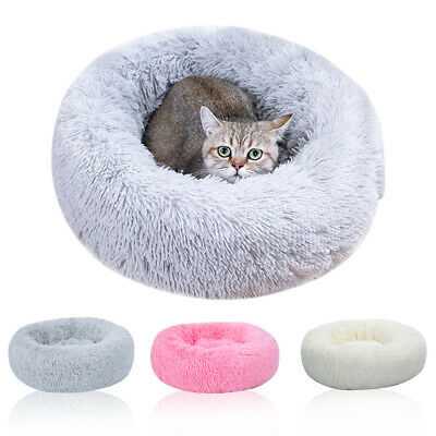 1x Donut Plush Pet Dog Cat Bed Fluffy Bed Calming Warm Soft Nest Kennel Sleeping