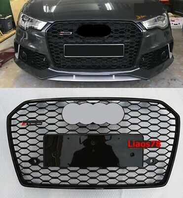 Fits For Audi RS6 Style Front Bumper Grille Mesh Grill Chrome A6 S6 C7 2016-2018