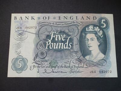 1963 J Q Hollom 1963 Five Pounds Note In Uncirculated Condition, Duggleby B297.