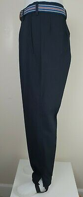 Vtg 1960s/1970s Button Fly Black/Blue Wool Trousers with Stirrups W34 L31 MH44