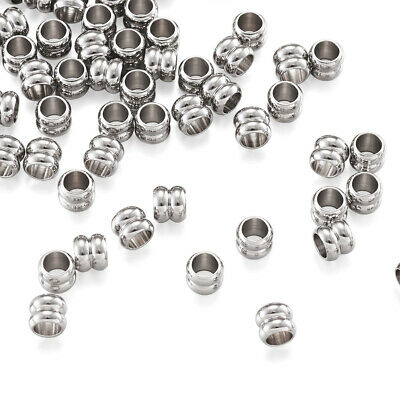 100pcs 304 Stainless Steel Column Large Hole Beads Mini Metal Loose Spacer 6x5mm