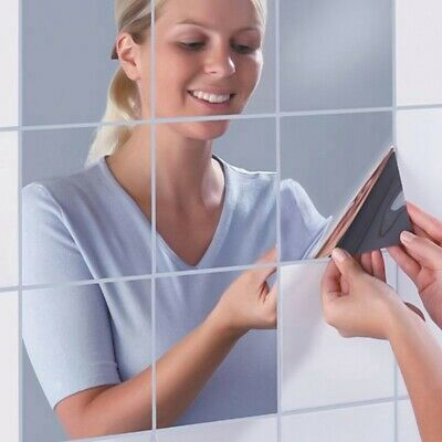 Mirror Tiles Self Adhesive Back Square Bathroom Wall Stickers Mosaic new Gm ge*