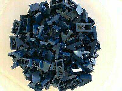 Lego 50 New Dark Blue Slope 45 2 x 1 with Cutout without Stud Sloped Parts