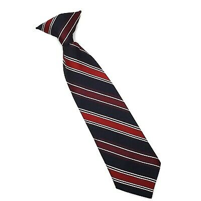 Boys Neck Tie Red Blue Striped Clip On Formal Church Pics Photos Holiday Party