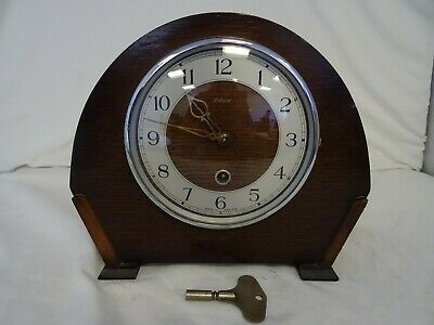 Vintage Enfield mantel clock Art Deco style pendulum with key Made in England ch