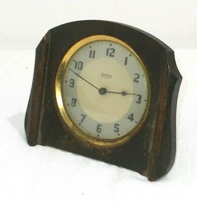 Early Smiths Oak Art Decor Mantle Clock Needs Attention Spares Repair Or Display