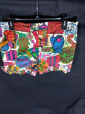 RARE Vintage 1960s Hot Dogs And Dill Pickles Swim Trunks Mod Boho Small 60s