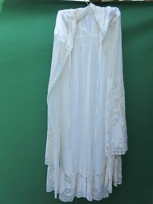 Vintage maltese lace christening gown with silk cape