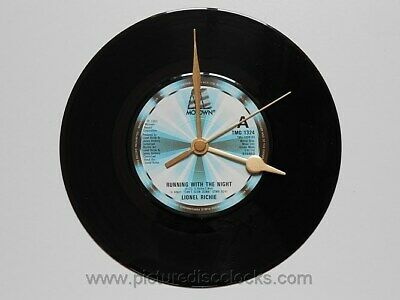 """Richie, Lionel Running with the night 7"""" Black Vinyl Record Wall Clock S9"""