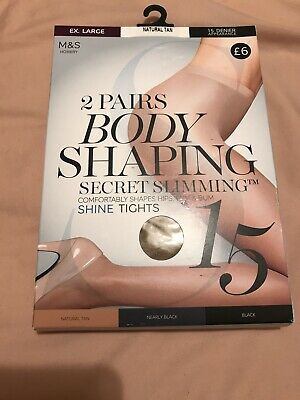 H1287 NEW M/&S 2 Pairs BODY SHAPING Tights Natural Tan Illusion size S