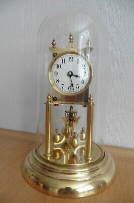 c1930 KUNDO 400 DAY ANNIVERSARY CLOCK AND GLASS DOME- FULLY SERVICED AND WORKING