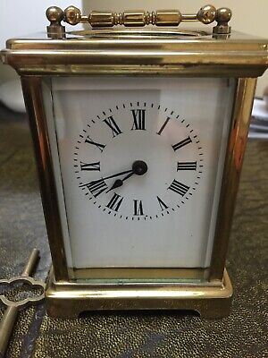 Vintage French Brass Mechanical Carriage Clock
