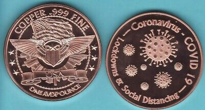 CORONA  PANDEMIC 19 .  Copper Round Coin  1 AVDP oz. SOCIAL DISTANCING 188