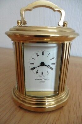 MINIATURE SWISS OVAL CARRIAGE CLOCK BY MATTHEW NORMAN c1980 RECENTLY SERVICED