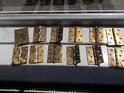 "Set of twelve heavy duty 4"" recycled solid brass hinges"