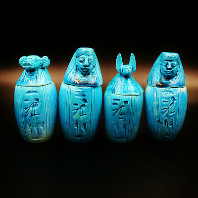 Antique Collection Set of Egyptian Funerary Canopic Jars Organs Storage...LARGE