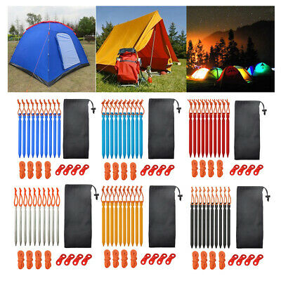 6-24 Pcs//Set Tent Pegs with Rope Stake Camping Outdoor Traveling Tent Accessory