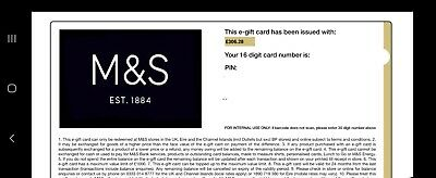 Marks and Spencer gift card £306