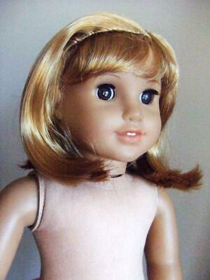 """18"""" Girl Doll wig size 10-11"""" Light Brown Curly W014 w/ Fringe Nellie Doll"""