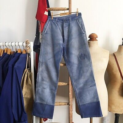 """True Vintage 1950s French Sun Faded Darned Chore Workwear Trousers Pants W28"""""""