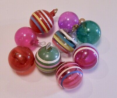 Vintage Wwii Era Unsilvered Christmas Ornaments With Paper Hangers Shiny Brite