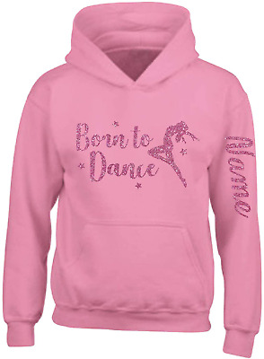 Girls Personalised Glitter Dance Hoodie Ballet Gymnastics Hoody Arm Print, Blush