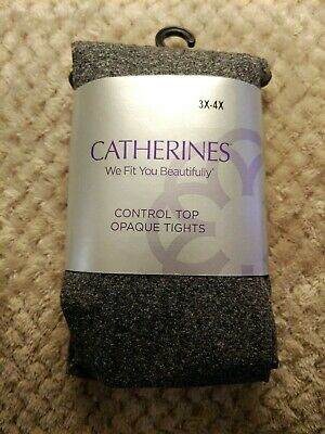 """Catherines NWT Control Top Opaque Tights Plus Size 5X 80/"""" Black 6X Hips 60/"""""""