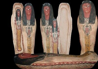 ANCIENT EGYPTIAN ANTIQUES Ushabti Wooden Box  Wadjet Coffin 1800 BC