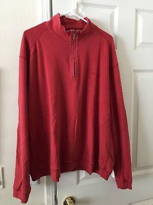Tommy Bahama Mens Zip Pullover XXL Red Sweater Shirt Top