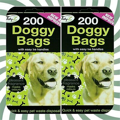 1000 x DOGGY BAGS WITH HANDLES ,EXTRA STRONG,SCENTED,EASY TIE,POOP BAGS