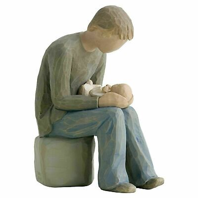 Willow Tree New Dad Figurine - Resin Father Ornament Holding Baby - Hand-Painted