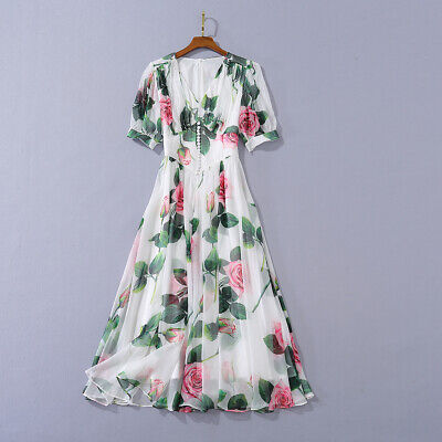 Occident popular fresh rose Printed A word shoulder makings cotton dress SMLXL
